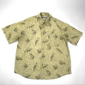 Columbia Large Trout Fish Button Down T Shirt